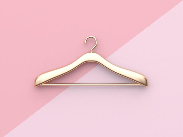 Percha de ropa de oro del concepto de la moda de negocios representación rosada mínima del fondo 3d de la suspensión