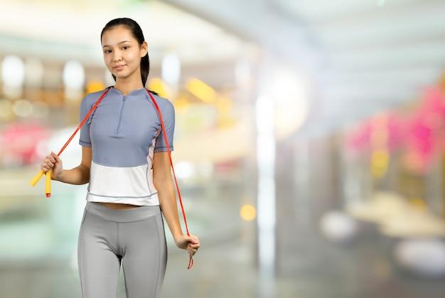 Pérdida de peso. estilo de vida saludable. deportiva mujer sana.