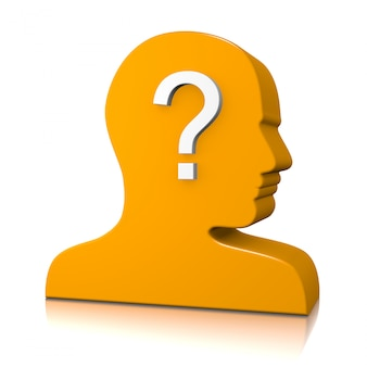 Perfil de cabeza de hombre con signo de interrogación