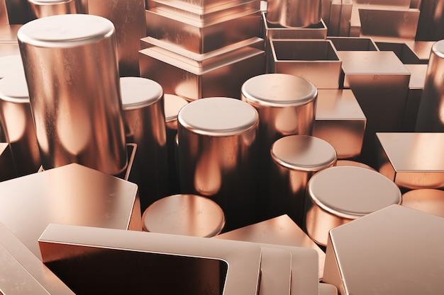 Perfiles cilíndricos de acero al cobre, perfiles hexagonales de acero al cobre, perfiles cuadrados de acero al cobre. diferentes productos de acero al cobre, ilustración 3d