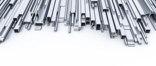 Perfiles metálicos de diferentes formas y tamaños sobre un fondo blanco.