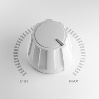 Perilla de volumen blanco en máximo, render 3d