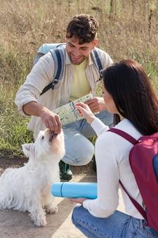 Perro de alimentación de pareja de tiro medio