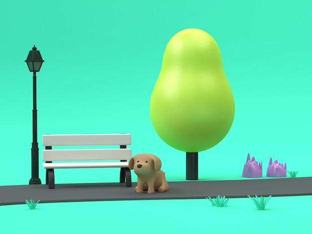Perro de dibujos animados en 3d en la pasarela de parques verdes bajo poli árbol con lámpara de silla 3d rendering escena verde
