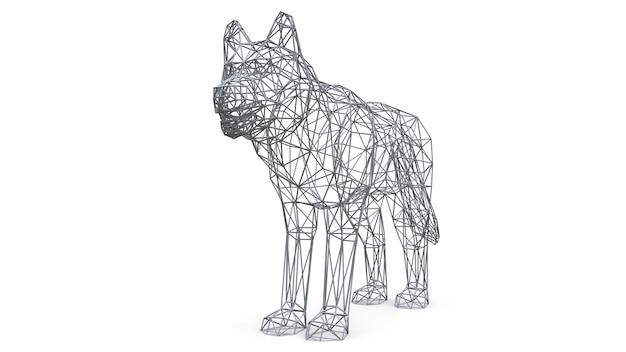 Perro de malla renderizada en 3d sobre fondo blanco aislado