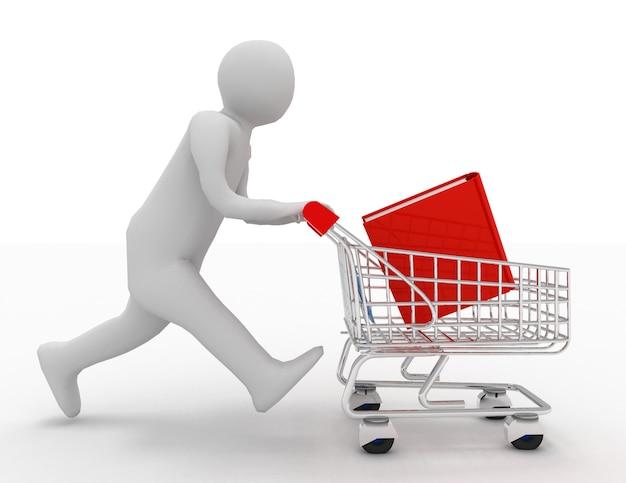 Persona 3d con libro en el carrito de la compra.