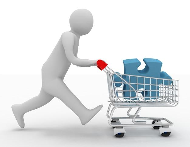 Persona 3d con rompecabezas en el carrito de la compra.