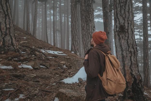 Una persona entra en el camino forestal brumoso y brumoso en una escena dramática del amanecer