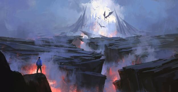 Una persona frente a la ilustración del mundo del purgatorio.