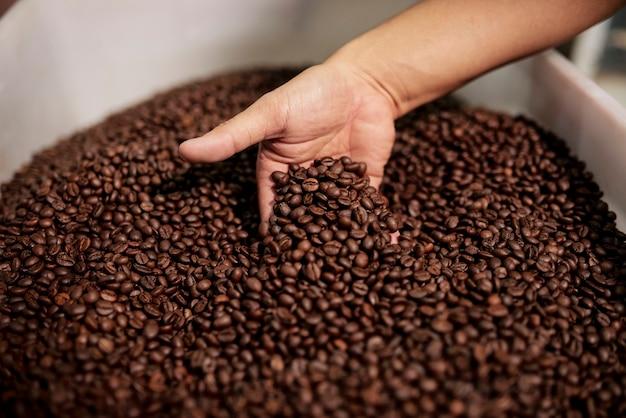 Persona mezclando granos de café tostados