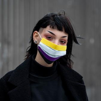 Persona que lleva una máscara médica no binaria al aire libre