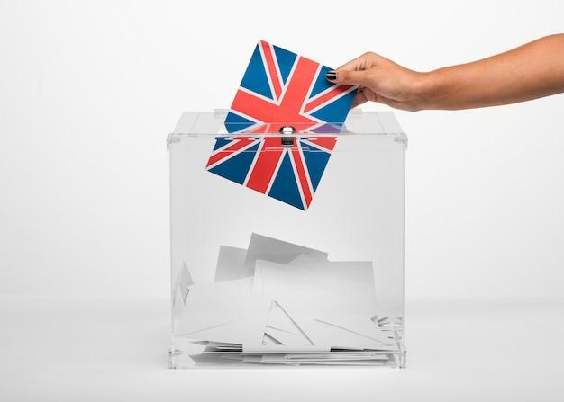 Persona que pone la tarjeta de la bandera del reino unido en la urna