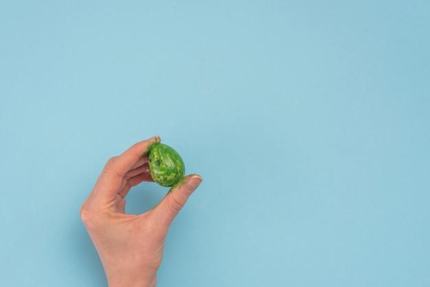 Persona que sostiene el huevo de pascua verde en la mano