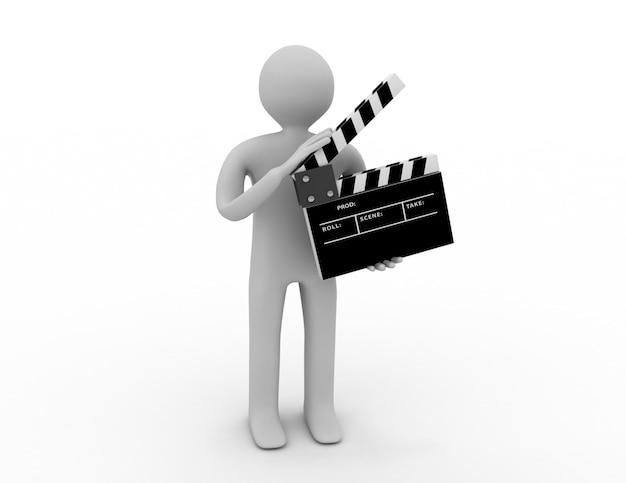 Personaje 3d con un badajo de película.