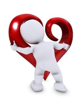 Personaje 3d con un corazón grande