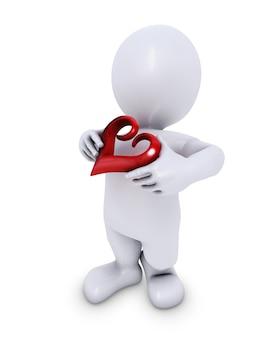 Personaje 3d con un corazón pequeño