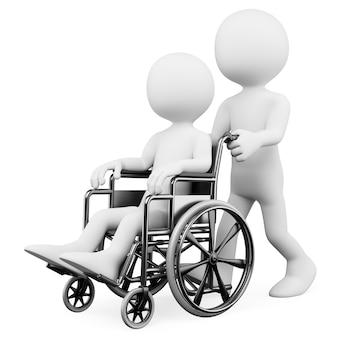 Personaje blanco 3d ayudando a un discapacitado Foto Premium