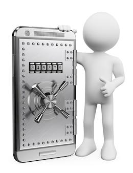 Personaje blanco 3d concepto de seguridad móvil