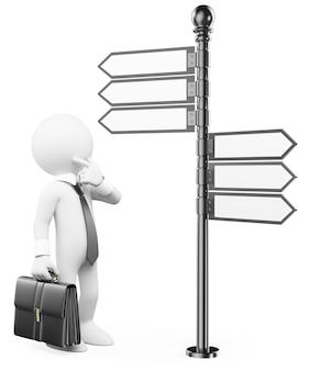 Personaje blanco 3d hombre pensativo con una señal de dirección