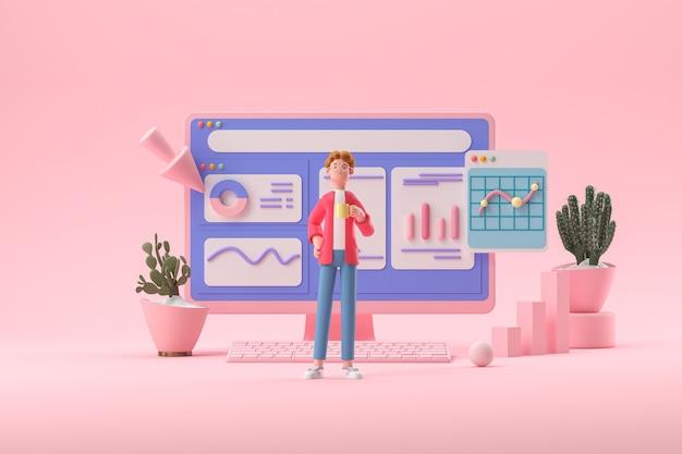 Personaje de dibujos animados en 3d y computadora con páginas abiertas análisis web optimización de seo