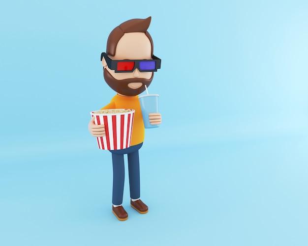 Personaje de dibujos animados en 3d viendo la película