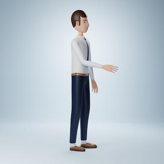 Personaje de dibujos animados de empresario estrechar la mano plantean aislado