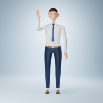 Personaje de dibujos animados de empresario levantando la mano y saludar plantean aislado