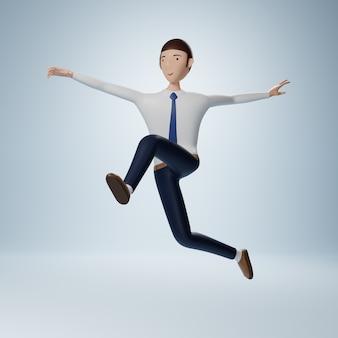 Personaje de dibujos animados de empresario saltando pose aislado