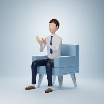 Personaje de dibujos animados de empresario sentado con aplauso aislado