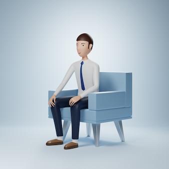 Personaje de dibujos animados de empresario se sienta en un sillón aislado