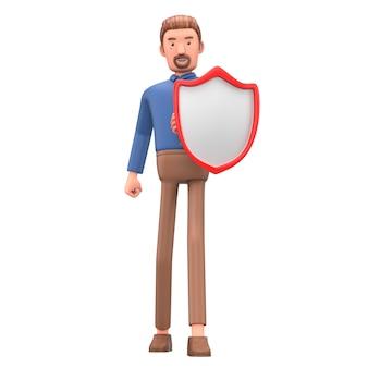 Personaje de dibujos animados con escudo. seguridad y protección en los negocios.