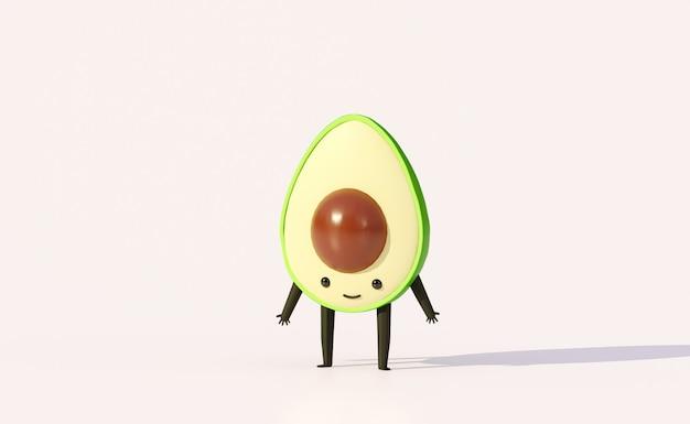 Personaje de dibujos animados de fruta de aguacate