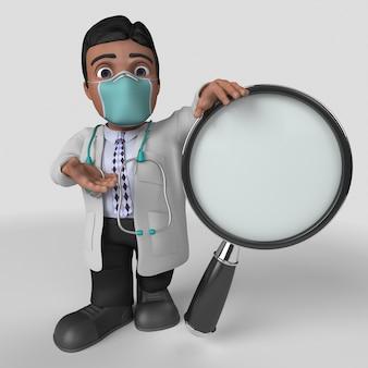 Personaje de doctor de dibujos animados 3d en mascarilla