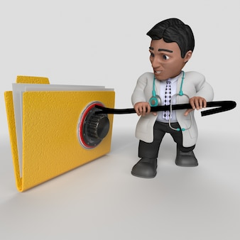 Personaje de doctor de dibujos animados 3d