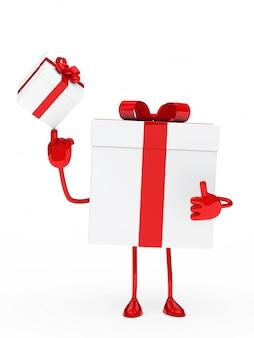 Personaje feliz jugando con un regalo pequeño
