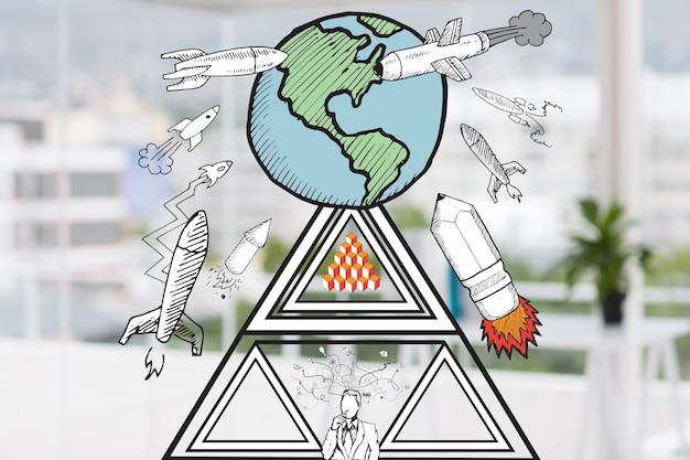 Personaje pensando con cohetes en el aire