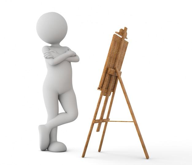 Personaje pensativo mirando un lienzo