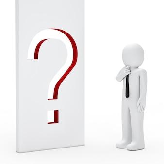 Personaje pensativo con un signo de interrogación