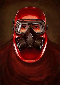 Personaje post-apocalipsis. acosador en el resperador.