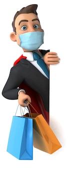 Personaje de superhéroe de dibujos animados divertido con una máscara