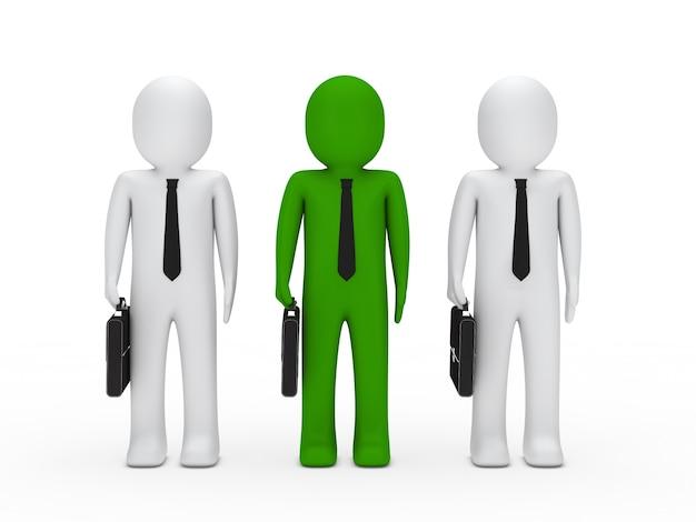 Personaje verde con dos personajes blancos
