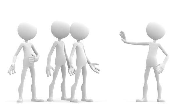 Personajes en 3d sosteniendo su mano en una señal de stop