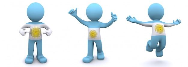 Personajes en 3d con textura con bandera de argentina