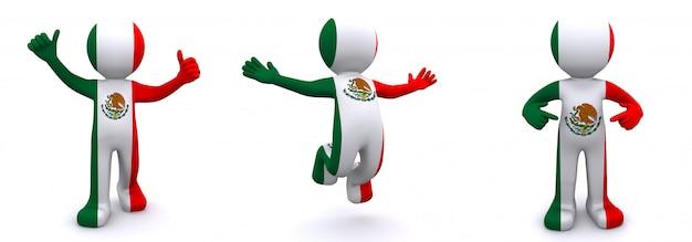 Personajes en 3d con textura con la bandera de méxico