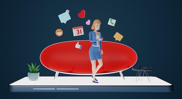 Personajes de empresaria usando teléfono con icono de redes sociales. estilo de vida digital, comunicación en línea y concepto de redes sociales. representación 3d.