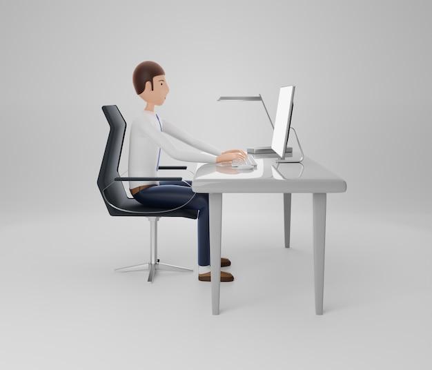 Personajes de hombres de negocios usando computadora. aislado. representación 3d.