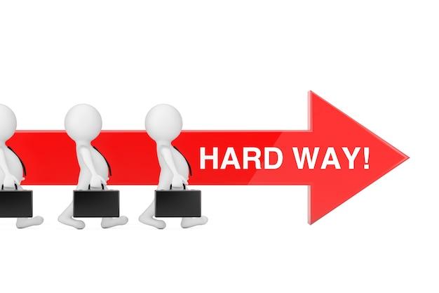 Las personas del hombre de negocios caminan hacia adelante en la dirección de la flecha de progreso roja con signo de camino difícil sobre un fondo blanco. representación 3d
