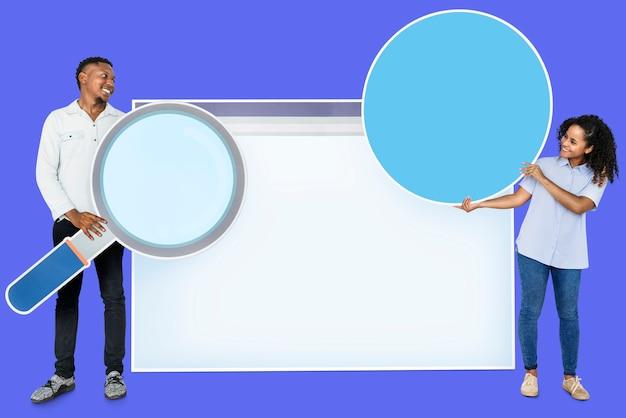 Las personas con iconos relacionados con el concepto de motor de búsqueda