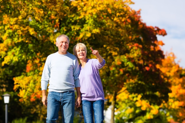 Personas mayores en otoño o otoño caminando de la mano