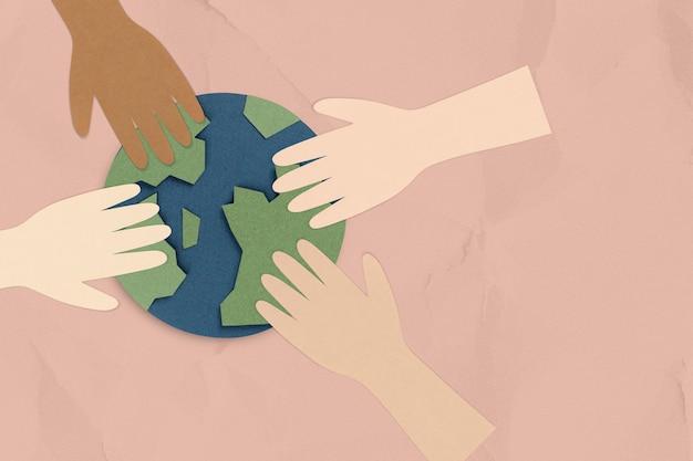 Personas que protegen el mundo durante la pandemia de coronavirus fondo de artesanía de papel